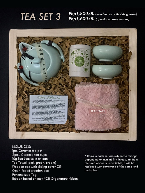 Tea Set 3 (open-faced box: 1600.00; wooden box with sliding cover: 1800.00)