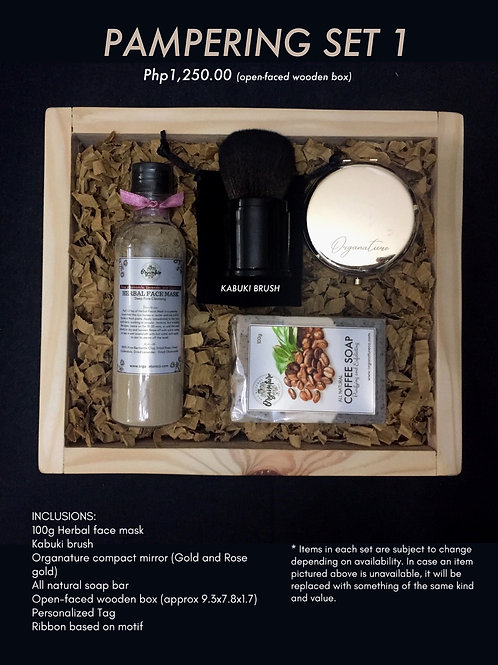Pampering set 1 (open-faced wooden box)