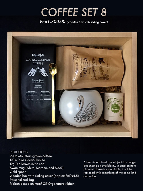 Coffee set 8 (wooden box with sliding cover)