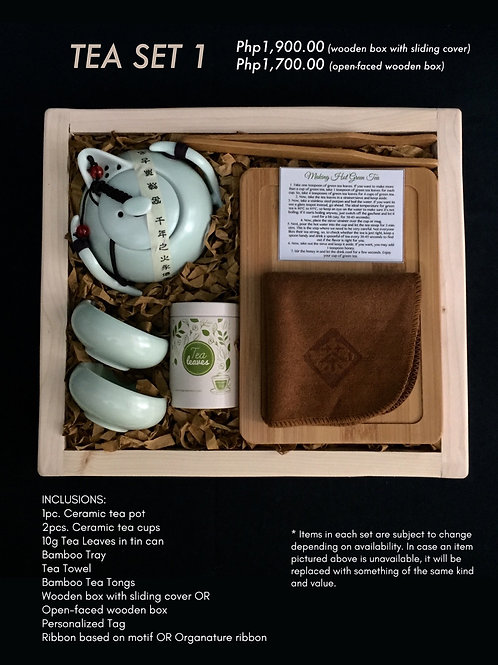 Tea Set 1 (Open-faced wooden box : 1700.00; Wooden box with sliding cover 1900.0