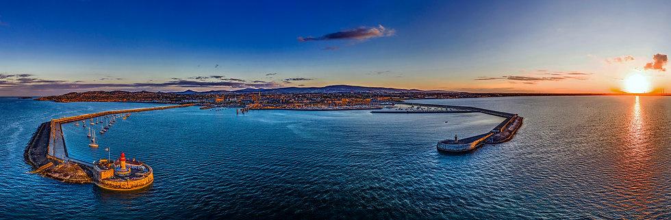 Dun Laoghaire Harbour Panorama, Dunlaoghaire, Dublin Bay