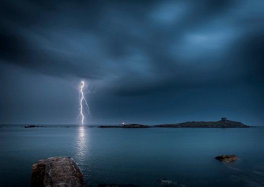 Lightning Strike, Dalkey Island, Dublin Bay