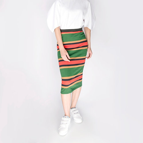 Strips Pencil Skirt