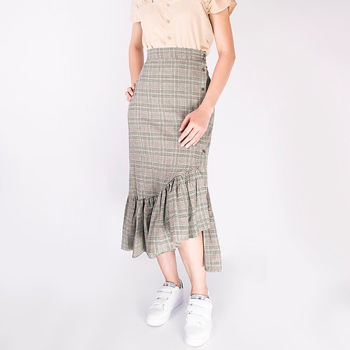 Checked Asymmetrical Skirt