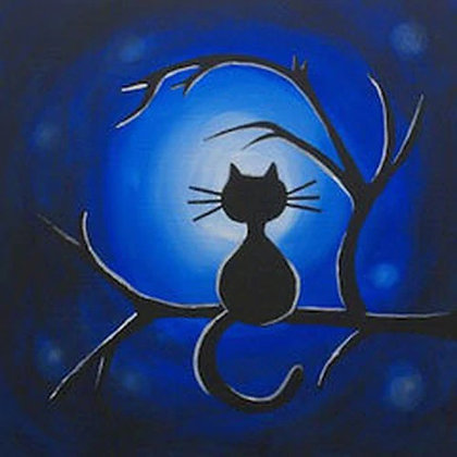 Moonlight Meow Canvas
