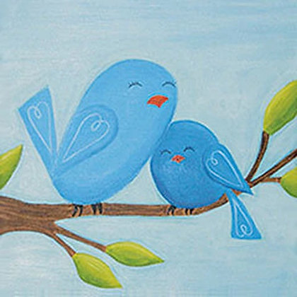 Motherly Love Blue Birds Canvas