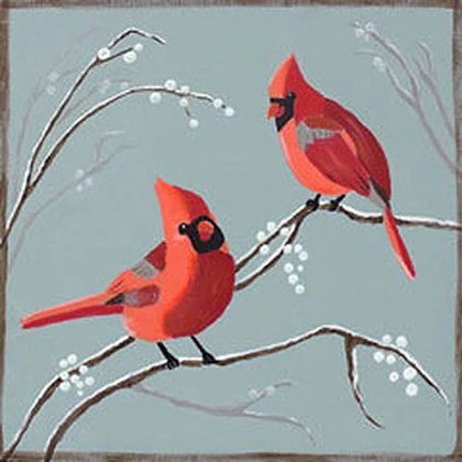 Cardinals and Berries Canvas