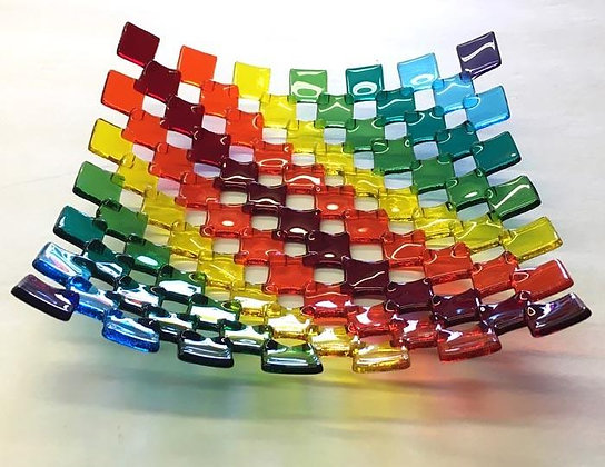 Stacked Tile Fused Glass Plate