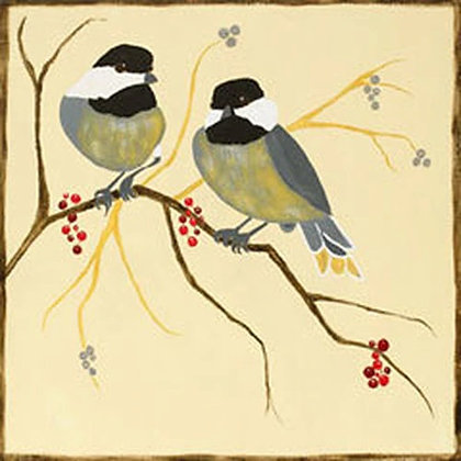 Chickadees and Berries Canvas
