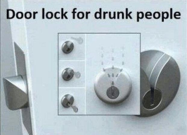 door lock for drunk people