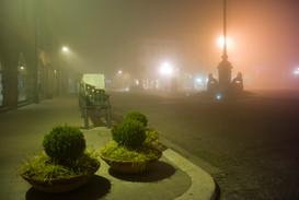 Este square in fog