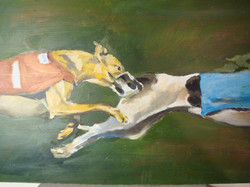 Greyhounds3. Oil, 11x17