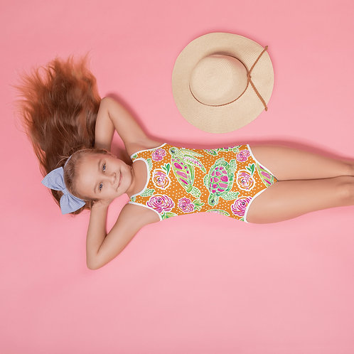 """Turtle City"" OJ-All-Over Print Kids Swimsuit"