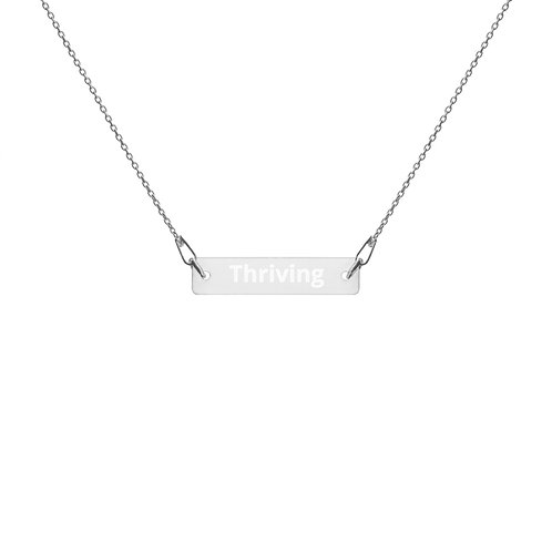 Thriving - Engraved Silver Bar Chain Necklace