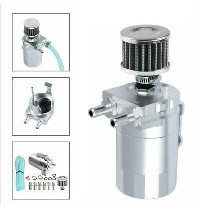 Oil Catch Can Kit Reservoir Tank Engine Silver Polish Baffled Universal Aluminum