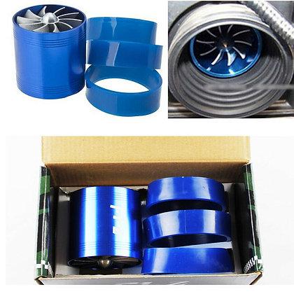 Car Air Intake Turbonator Fuel Gas Saver Fan Single Turbo Charger Turbine Blue