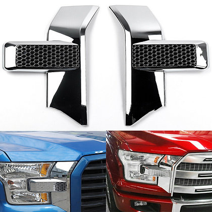 2×ABS Chrome Front Bumper Headlight Grille Chrome Cover Trim for Ford F150 15+