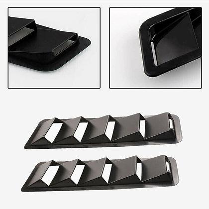 2x Universal Cooling Panel Trim Hood Vents Louver Carbon Grain ABS Carbon Fiber