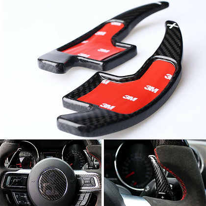 2pcs Carbon Fiber Steer Wheel Shift Paddle Shifter Extension For Ford Mustang