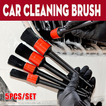 5PCS Auto Car Detailing Brush Cleaning Natural Boar Multi-function Hair Brushes