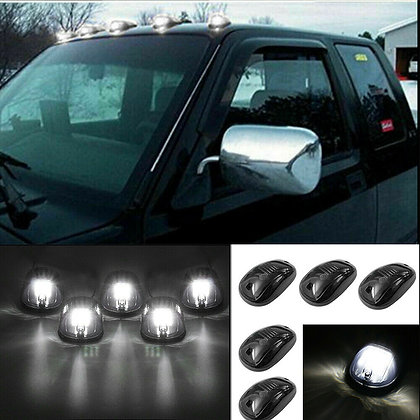 5x 9LED Smoked Cab Roof Top Marker Running Clearance White Light For Dodge Ram