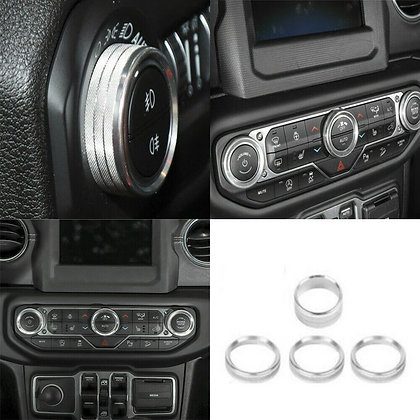 4x For Jeep Wrangler JL 2018+ Alloy Air Conditioner Switch Knob Ring Trim Silver