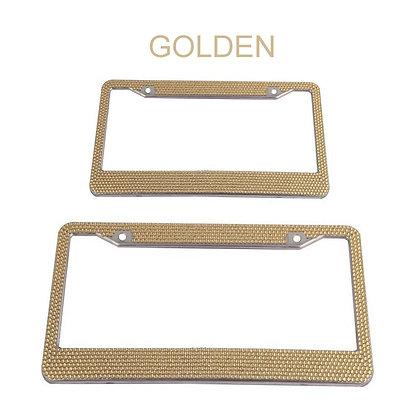 1×Metal Diamond Bling Glitter License Plate Frame Tag Cover Screw Caps Golden US