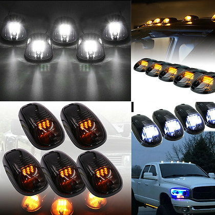 5x 16LED Smoked Cab Roof Top Marker Running Clearance Warm Light For Dodge Ram