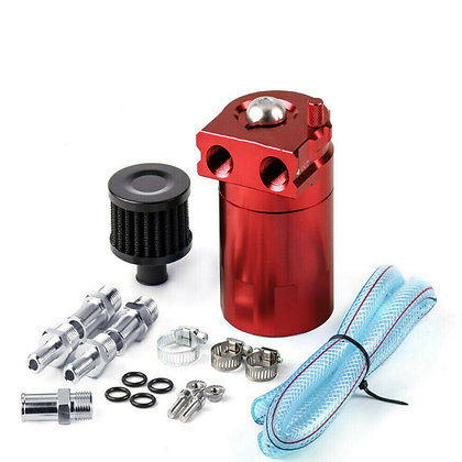 Universal Car Aluminum Oil Catch Can Reservoir Tank Red + Breather Filter Kit