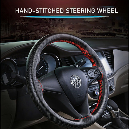 Black+Red DIY PU Leather Auto Car Steering Wheel Cover With Needles and Thread