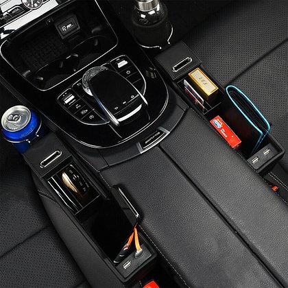 USB Car Seat Gap Catcher Filler Storage Box Cup Pocket Organizer Holder US
