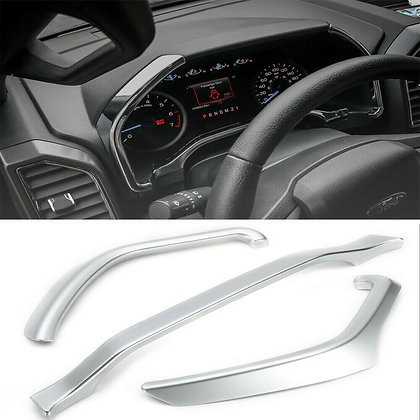 3pcs Dashboard Instrument Box Trim Strip Cover Interior For Ford F150 15+ ABS US