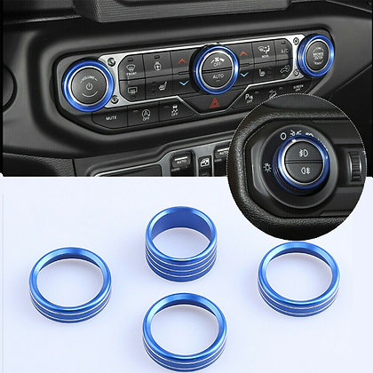 4x Air Conditioning Knob Switch Ring Cover Trim For Jeep Wrangler JL 2018+ Blue