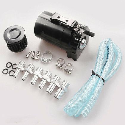 Car Aluminum Oil Catch Can Reservoir Tank Black + Breather Filter Kit Universal
