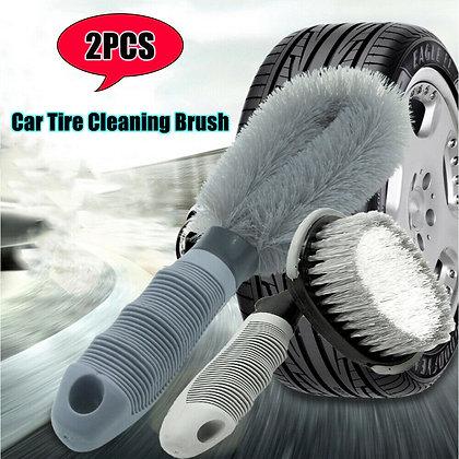 2PCS Car Rims Tyre Cleaning Brush Multi-Functional Wheel Hub Washing Tools US