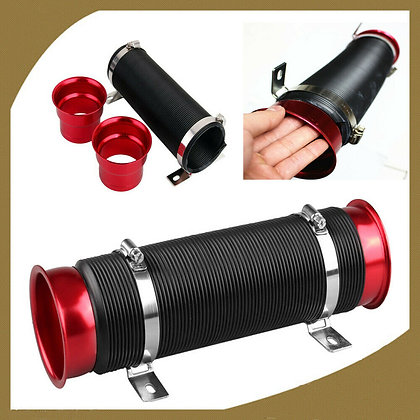 "3"" Red Flexible Adjustable Short Ram/Cold Car Air Intake Turbo Tube Pipe Hose"
