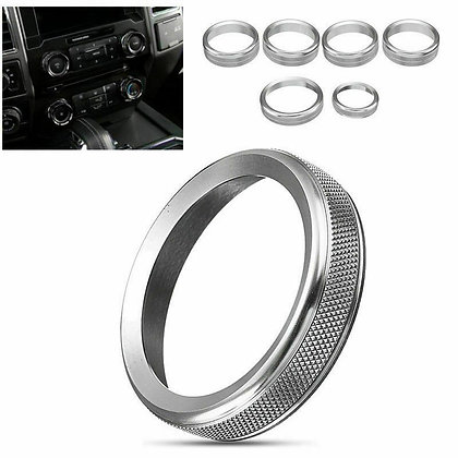 6pcs Air Conditioner Audio Switch Knob Ring Trim For Ford F150 2015-2018 Silver