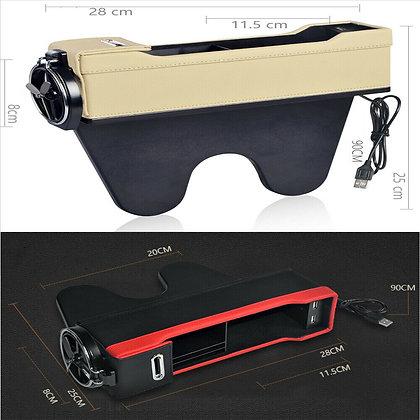 Beige USB Car Seat Gap Catcher Filler Storage Box Cup Pocket Organizer Holder