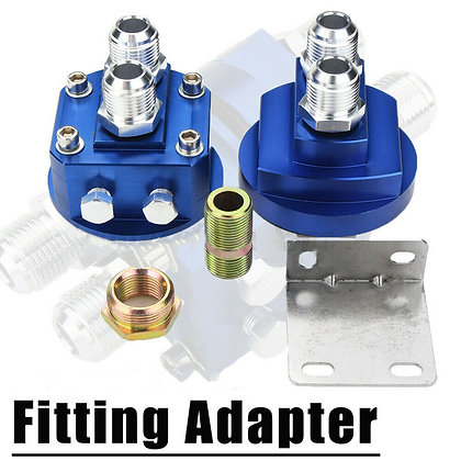 Blue Car Male Oil Filter Relocation Sandwich Fitting Adapter Kit 3/4X16 / 20X1.5