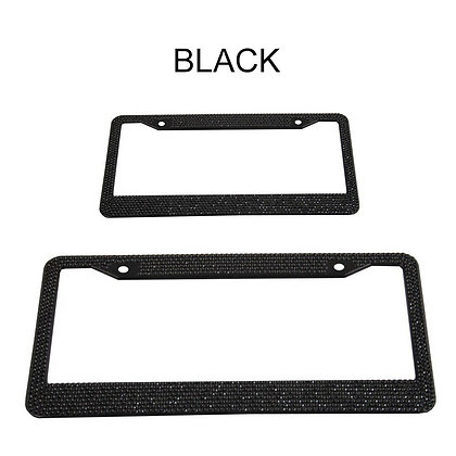 1×Metal Diamond Bling Glitter License Plate Frame Tag Cover Screw Caps US Black
