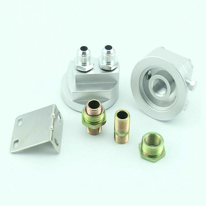 Silver Car Oil Filter Relocation ale Sandwich Fitting Adapter Kit Universal