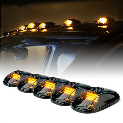 5x 9LED Smoked Cab Roof Top Marker Running Clearance Warm Light For Dodge Ram