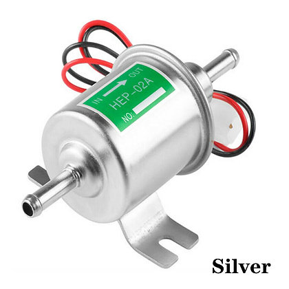 Universal 12V Gas Diesel Inline Fuel Pump Low Pressure Electric HEP-02A Silver