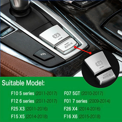 For BMW X3 X4 X5 X6 Silver Auto Hold H P Button Cover Parking Switch Trim