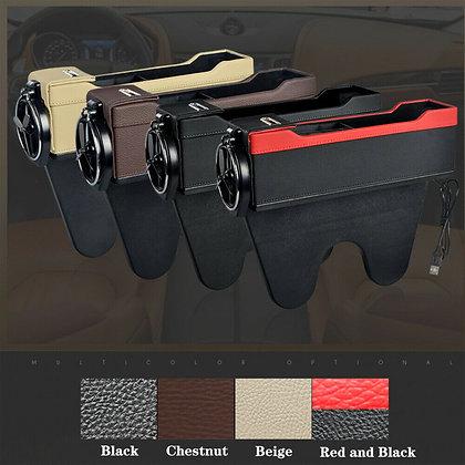 USB Car Seat Gap Catcher Filler Storage Box Cup Pocket Organizer Holder