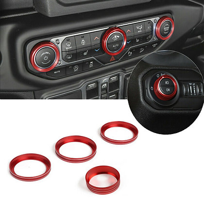 4x Red Air Conditioner & Headlight Switch Knob Ring Trim For Jeep Wrangler JL