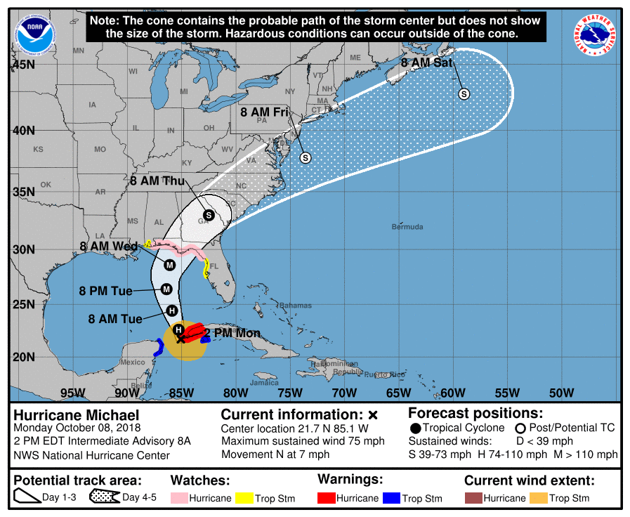 Hurricane Michael - 2pm EDT - 10-8-18