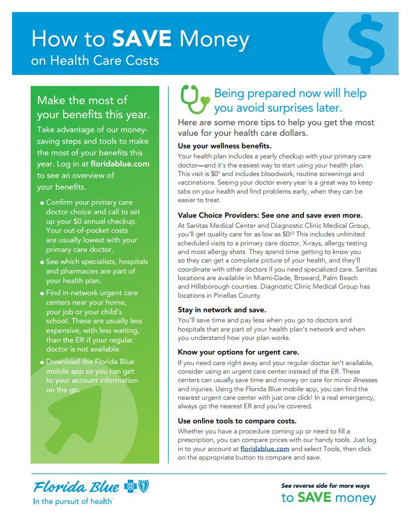 How To Save Money on Health Care Costs with Florida Blue - Page 1