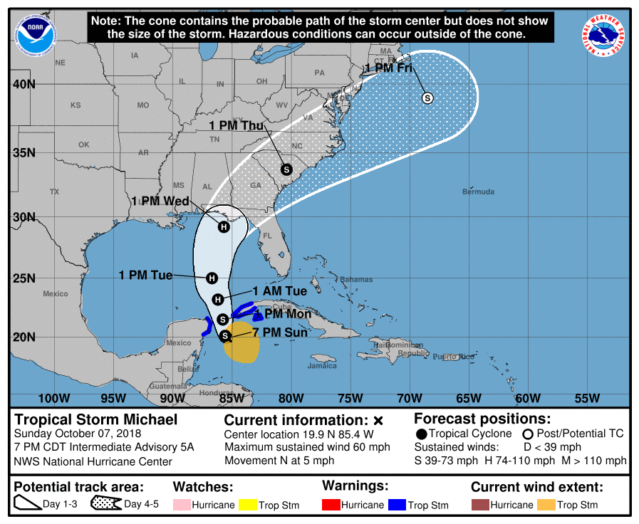 Tropical Storm Michael - 10-7-18 7pm CST Update Graphic
