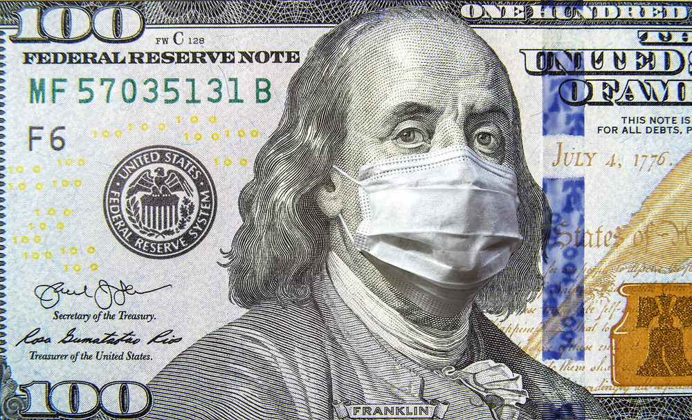 Picture of the $100 Dollar Bill with Benjamin Franklin wearing a mask